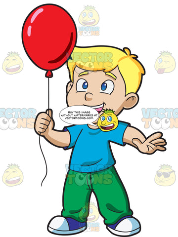 A Young Boy Enjoying His Red Balloon
