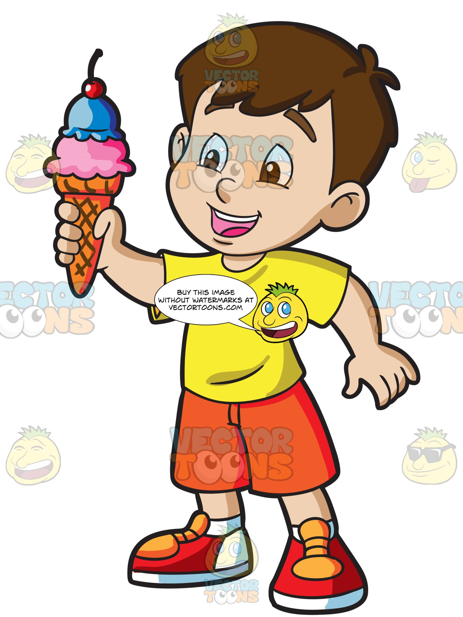 A Young Boy Grabs A Cone Of Ice Cream On A Hot Day