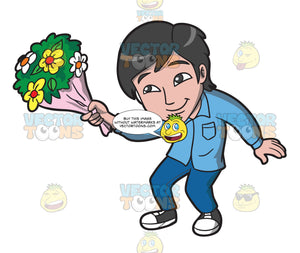 An Asian Guy Offering Flowers