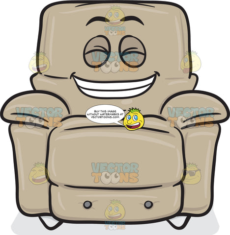 Happy Stuffed Chair Showing Pearly Whites In A Smile Emoji