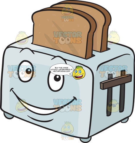 Happy Toaster Popping Out Breads Emoji