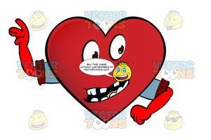 Leader Heart Smiley With Gapped Block Teeth Leading With Arms, Wearing Rolled Up Sleeves