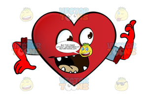 Gapped Tooth Heart Smiley With Open Mouth Looking Right Arms Wearing Rolled Up Sleeves