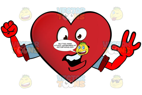 Heart Smiley With Open Mouth Showing Upper Row Of Teeth Pumping Fist Arms Wearing Rolled Up Sleeves