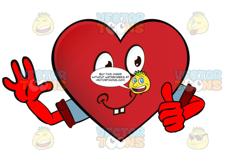 Cheerful Heart Smiley Giving Thumbs Up Sign