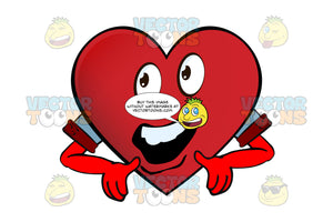 Open Mouthed Heart Smiley With Cupped Hands Pointing Downward, Wearing Rolled Up Sleeves