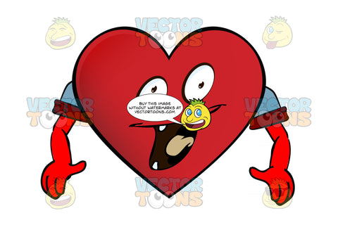 Excited Heart Smiley With Open Mouth, Tongue And Four Teeth, Arms Wearing Rolled Up Sleeves