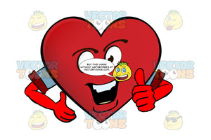 Talkative Heart Smiley With Strong Chin, Teeth, Giving Thumbs Up, Arms Wearing Rolled Up Sleeves
