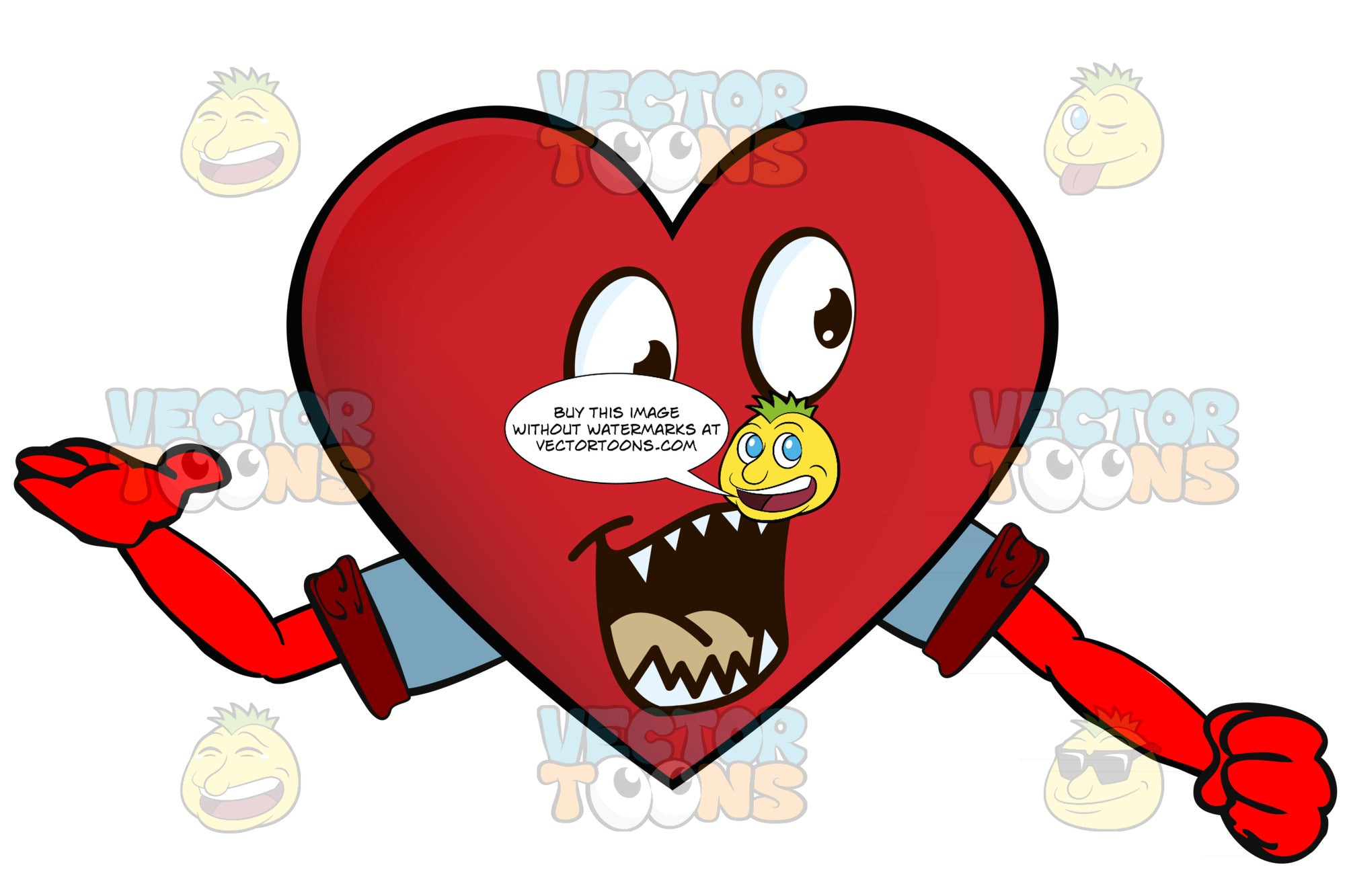 Pointed Teeth Heart Smiley With Open Mouth, One Arm Extended One Way, Other In Fist, Wearing Rolled Up Sleeves