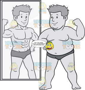 Heavy Man Envisioning A Slimmer Self In Front Of The Mirror
