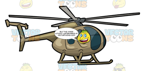 A Classic Military Helicopter. A helicopter with a dark grayish blue cockpit, body painted in army brown color, gray rotor blade, and two landing skids