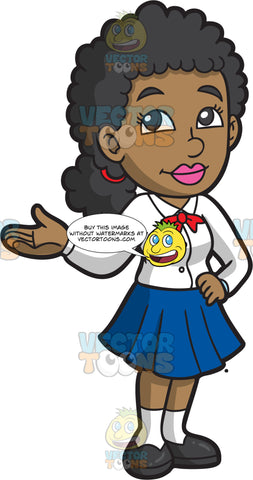 A Black High School Girl In Her School Uniform