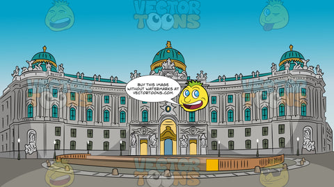 Hofburg Palace Background. An imperial Austrian palace with grand gold with aqua green domes, gray walls, and lots of windows, fronting a lovely square