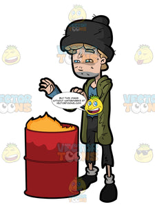 A Homeless Man Trying To Warm Himself By Placing His Hands Near The Garbage Bin Flame