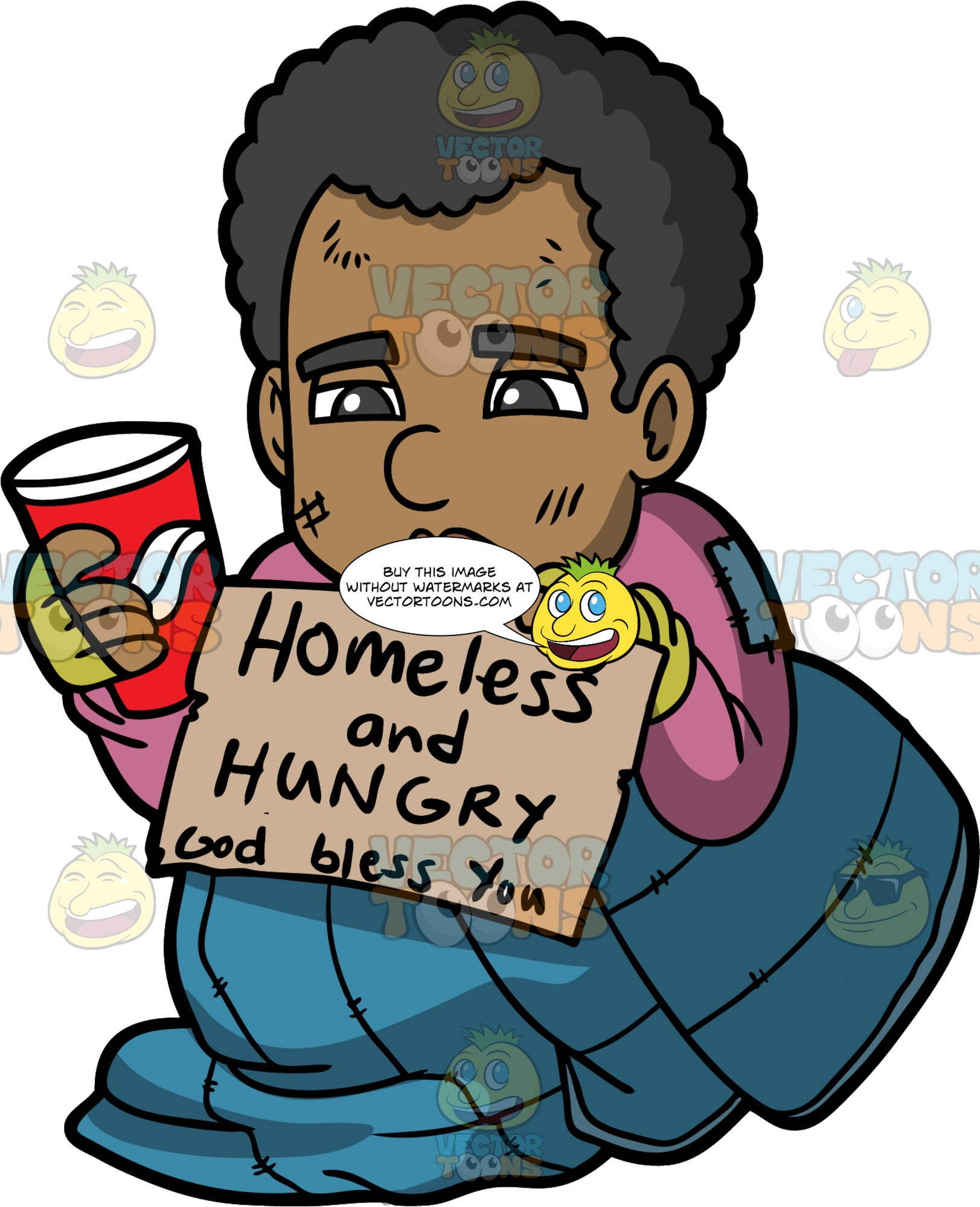 Jimmy Holding A Sign That Says Homeless And Hungry. A homeless man wearing a purple shirt, sitting on the sidewalk inside a blue sleeping bag, holding a homeless and hungry sign in one hand, and a paper cup in the other