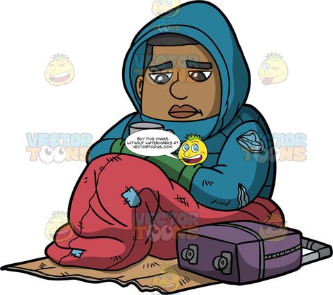James Living On The Streets. A homeless man wearing torn blue hoodie, and green mittens, sitting on a piece of cardboard on the sidewalk inside a red sleeping bag, holding a cup in his hands looking for spare change