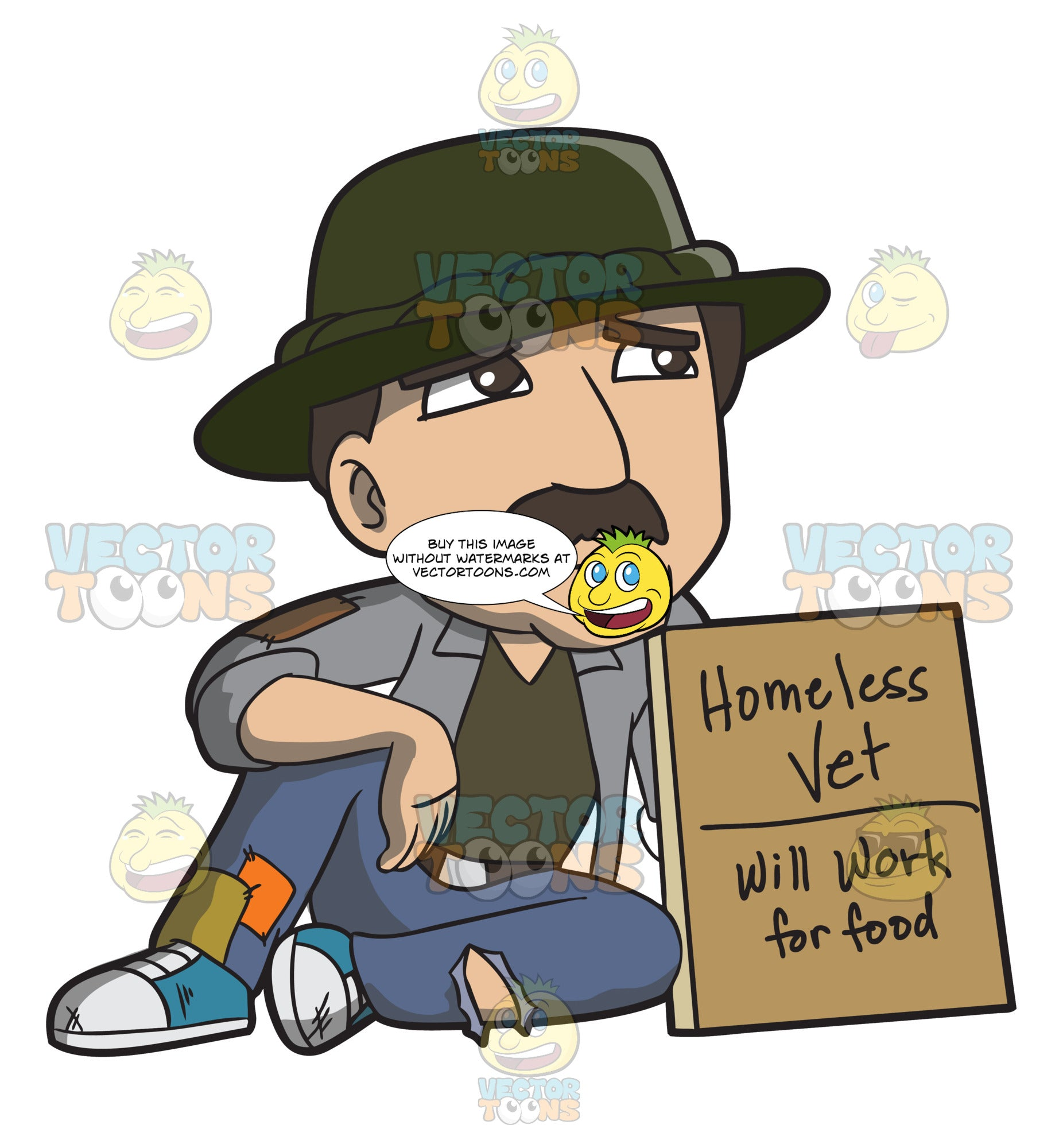 A Homeless War Veteran Asking For Work