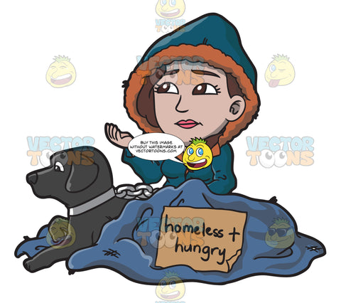A Homeless And Hungry Woman With A Black Dog