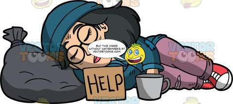 Lynn Sleeping On The Sidewalk. A homeless Asian woman wearing ripped pants, a blue jacket, red sneakers, a blue hat, and round eyeglasses, sleeping on the sidewalk with her head on a garbage bag, a help sign and a cup near her
