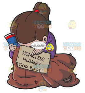 A Hungry Homeless Woman