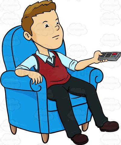 Man Sitting In A Blue Chair With A Remote Control In His Hands