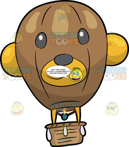 A Bear Face Hot Air Balloon. A hot air balloon with a brown basket, green burner, a balloon that is shaped like a face of a brown bear with yellow ears, dark gray eyes and nose