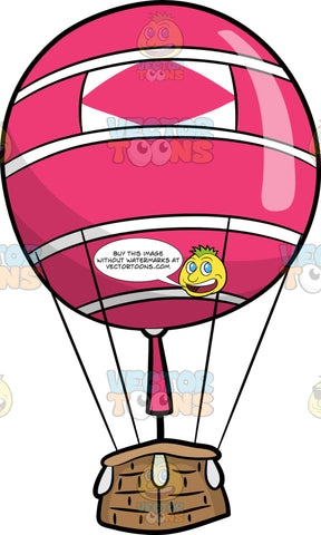 A Pink Hot Air Balloon. A hot air balloon with a brown basket, pink burner, a balloon shaped into a round striped pink and white candy ball, with a pink diamond print