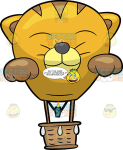 A Cat Face Hot Air Balloon. A hot air balloon with a brown basket, green burner, a balloon that is shaped like a smiling yellow cat face, with closed eyes, light yellow muzzle, dark gray nose, whiskers, brown inner ears and paws