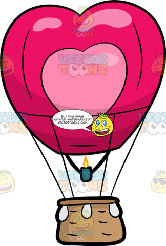 A Heart Shaped Hot Air Balloon. A hot air balloon shaped like a dark pink heart with another lighter pink heart in the middle, brown basket and a green burner