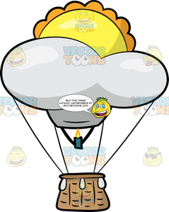 A Sunrise Shaped Hot Air Balloon. A hot air balloon shaped like yellow sun rising above a white cloud, with a brown basket, and green burner