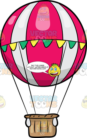 A Pink And White Festive Hot Air Balloon. A hot air balloon shaped like a round pink and white ball tied by a streamer with yellow and green triangular flags, connected to a brown basket gondola