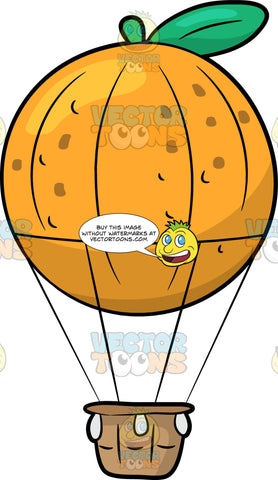 An Orange Shaped Hot Air Balloon. A hot air balloon shaped like a round orange fruit with a green leaf and stem, connected to a brown basket gondola