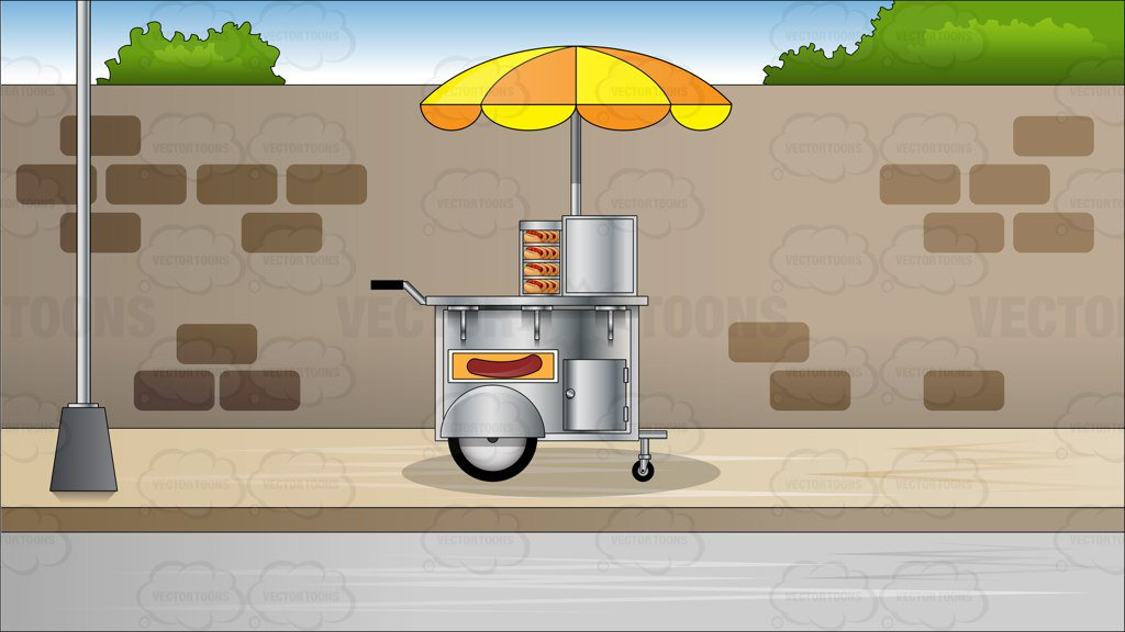 Hot Dog Cart On A Sidewalk Background