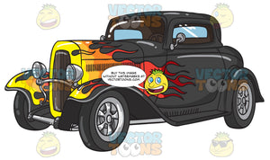 A Black Hot Rod With Flames