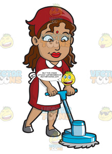 A Female Housekeeper Polishing The Floor