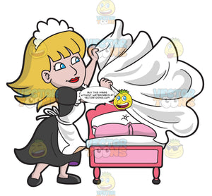 A Female Housekeeper Changing The Bed Sheets