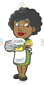A Female Housekeeper Delivering Some Fresh Towels