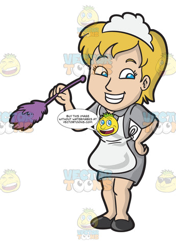 A Happy Female Housekeeper Dusting