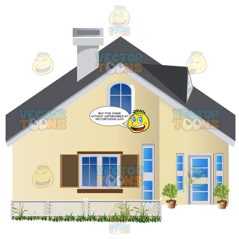 Yellow Suburban Family House With Black Roof And White Fence Out Front