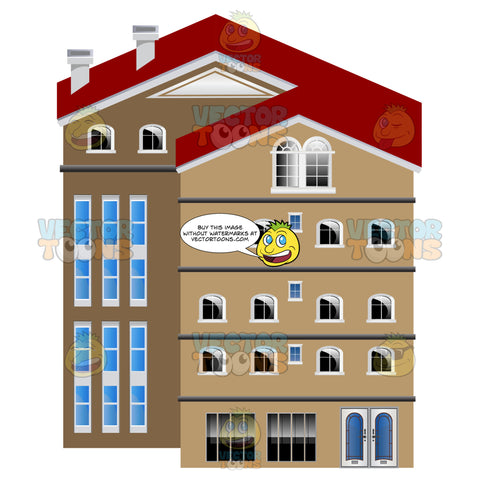 Brown Five Storey Split Level Office Condo Building With Red Roof