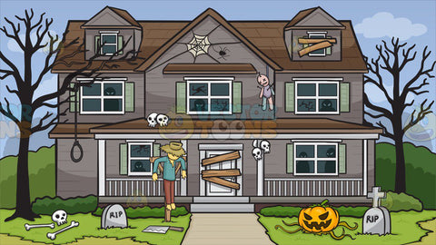 House Decorated For Halloween Background