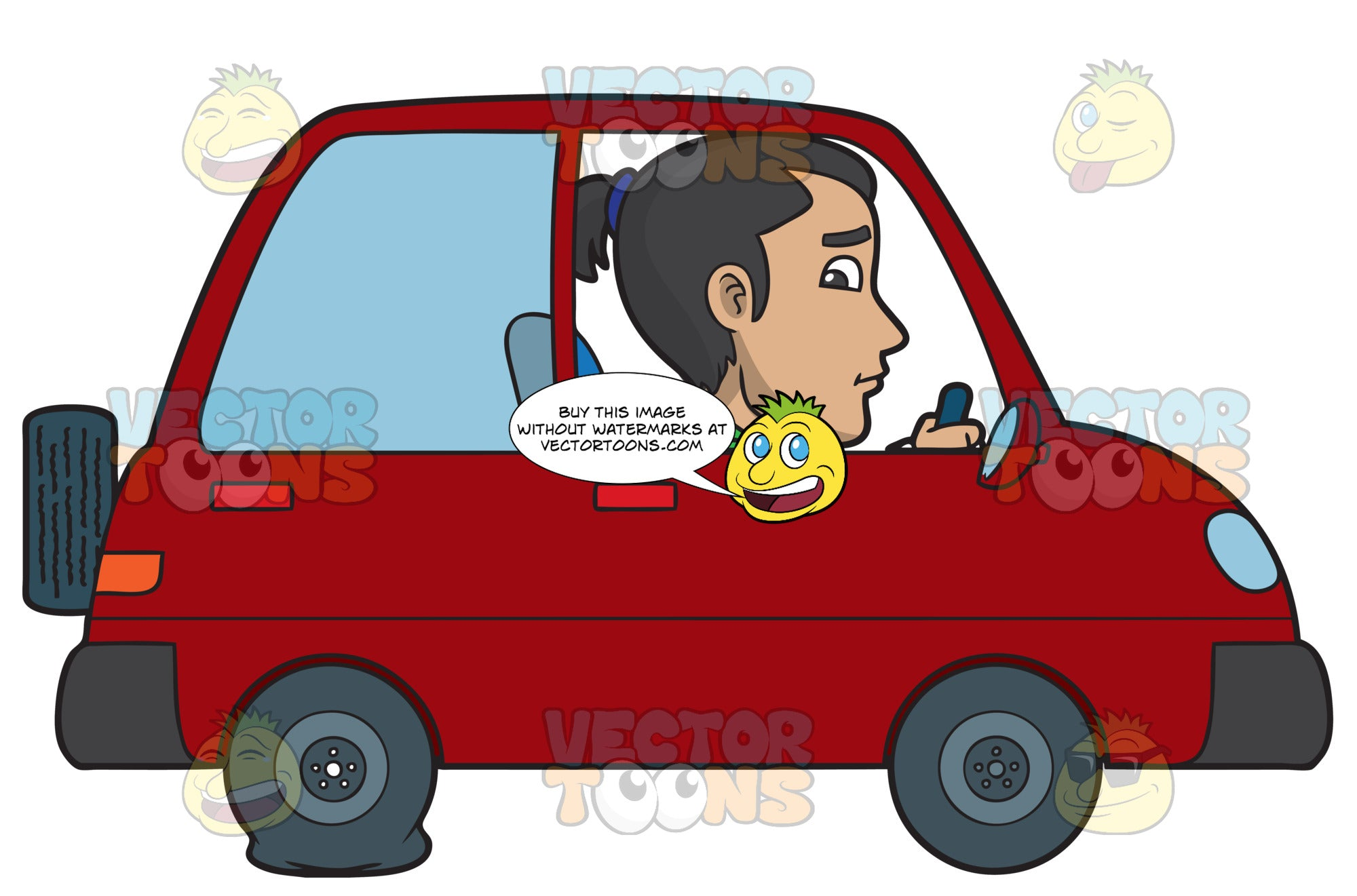 A Man Driving With A Flat Tire Clipart Cartoons By Vectortoons