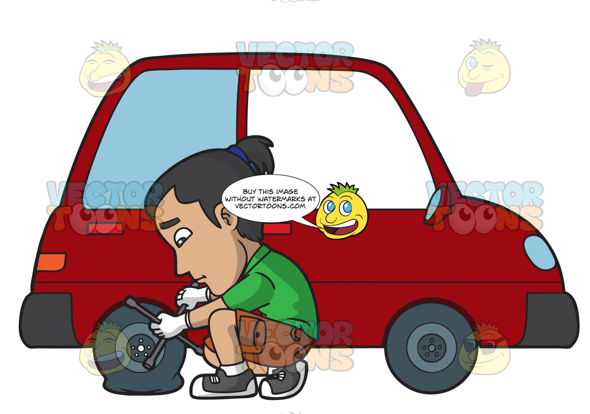 A Man Removing The Bolts And Lugs Of A Flat Tire Clipart Cartoons