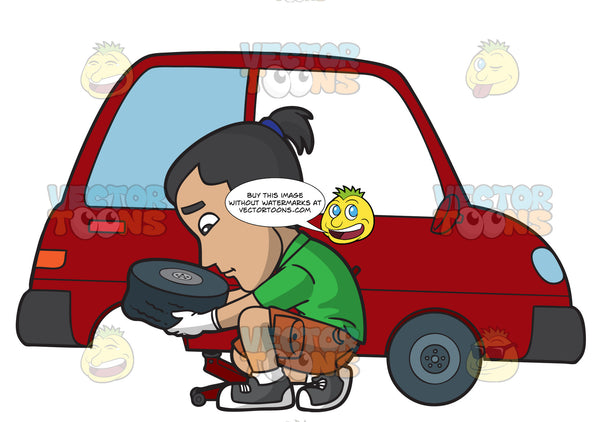 A Man Removing A Flat Tire Clipart Cartoons By Vectortoons