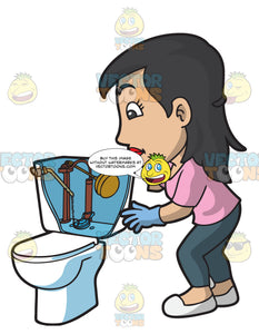 A Woman Looking Inside The Toilet Tank