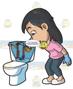A Woman Finding The Float Of A Toilet