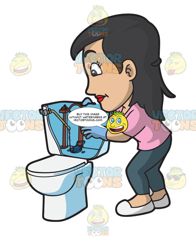 A Woman Fixing A Running Toilet