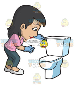 A Woman Flushing The Toilet