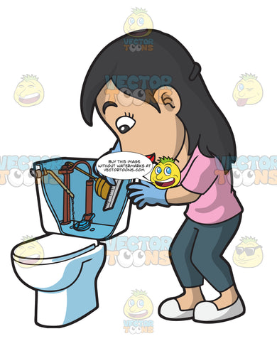 A Woman Measuring The Water Level Of A Toilet Tank