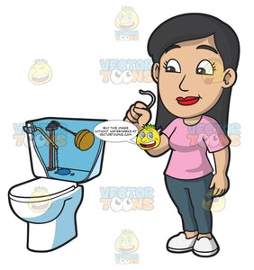 A Woman Replacing A Toilet Part
